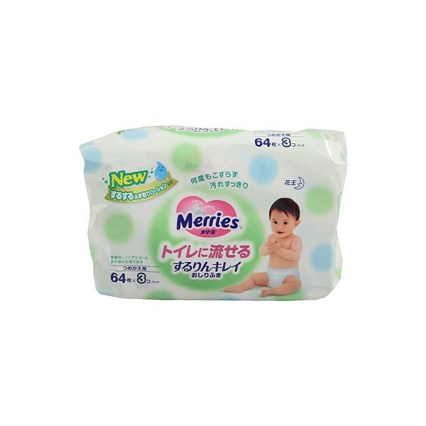 購入する Kao Merries Wet Tissue refill 3 x 64 pcs.