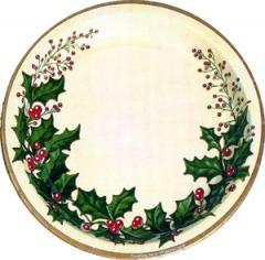 クリスマス★紙食器 ウインターホリー 7インチ紙皿 (アメリカ製)17.8cm6枚入