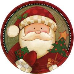 クリスマス紙食器 コージーサンタ 9インチ紙皿(アメリカ製)22.86cm8枚入